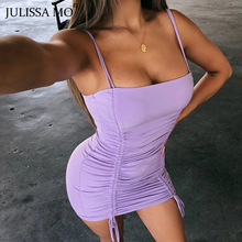 Bandage Bodycon Cami-Straps Dresses Backless Party-Dress Club Vestidos Drawstring Julissa Mo