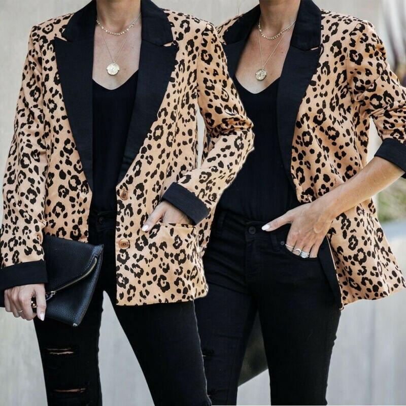 Fashion single breasted leopard blazer coat women Long sleeve slim OL blazer 2020 Casual autumn jacket blazer female clothes