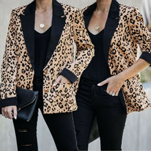 Fashion single breasted leopard blazer coat women Long sleeve slim OL blazer 2020 Casual autumn jacket blazer female clothes