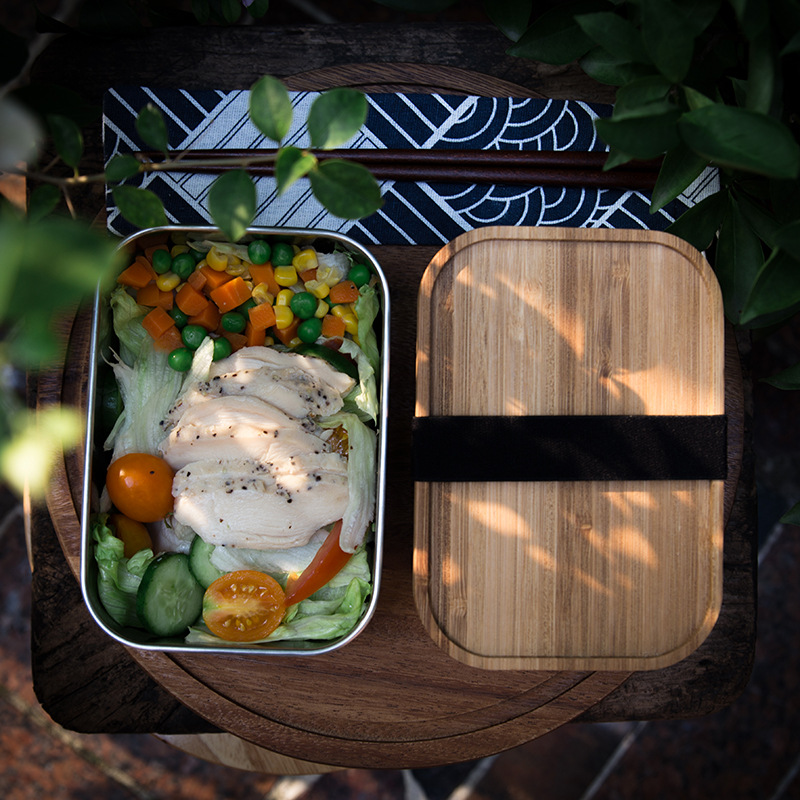 500Ml/800Ml/1200Ml Organic Bamboo Lid Stainless Steel Bento Lunch Box With Elastic Janpanese Food Container Storage Box