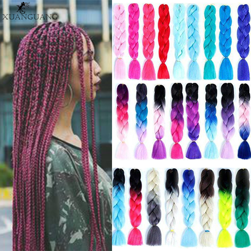 XUANGUANG Pink Purple Blue Blonde Color Synthetic Jumbo Braids Ombre Braiding Hair For Women Hair Extension