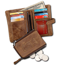 купить New Retro Short Wallet Cowhide Crazy Horse Wallets with Zipper Coin Purse Genuine Leather Pockets RFID Card Holders Wallet по цене 895.55 рублей