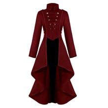Women Gothic Steampunk Button Lace Corset Halloween Costume Coat Tailcoat Jacket  fashion warm female elegant coat clothing