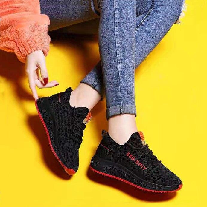 Jsi Mode Dame Sneakers Ronde Hoofd Lace Up Zwart Ademend Mesh Lente En Herfst Casual Schoenen Mode Comfortabele Sneakers