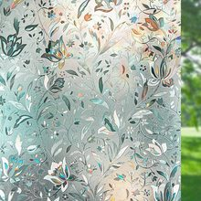3D Privacy Window Film Tulip Flower Frosted Decorative Self-Adhesive films Glass Sticker Opaque Stained Used in bedroom office。
