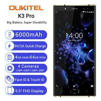 Original New OUKITEL K3 PRO 4GB 64GB Android 9.0 Smartphone Octa Core 6000mAh 13MP Mobile Phone 9V/2A fast Charging Cellphone