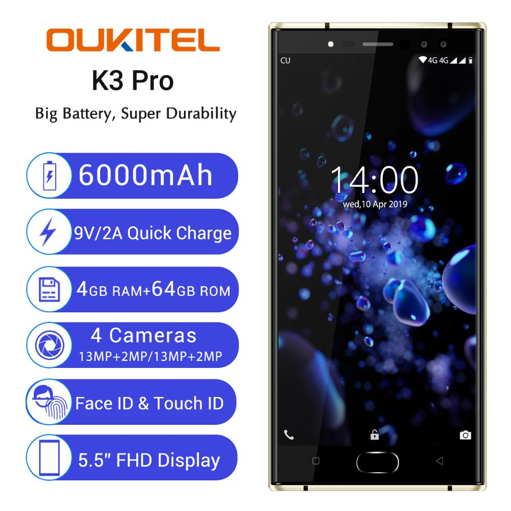 Original New OUKITEL K3 PRO 4GB 64GB Android 9.0 <font><b>Smartphone</b></font> Octa Core <font><b>6000mAh</b></font> 13MP Mobile Phone 9V/2A fast Charging Cellphone image