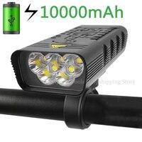 10000mAh Fahrrad Licht USB Aufladbare 3000 Lumen Fahrrad Scheinwerfer 5T6 LED Ultra-Helle Taschenlampe Front Lampe Zurück Hinten licht
