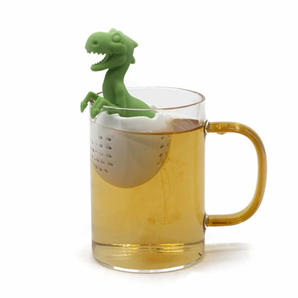Silikon Dinosaurier Tee Tasche Tee Filter Tee Taschen Siebe Lose Tee Kaffee Gewürz Küche Liefert Tee-ei 98mm × 62mm × 62mm # ES