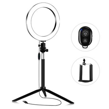 20cm 3200 K-5600 K fotografia dwukolorowy lampa z upiększającym efektem pierścionek zestawowy lampa wideo 7W statyw do kijka do selfie uchwyt na przekaz na żywo Youtube tanie i dobre opinie Andoer 3300-5600 k