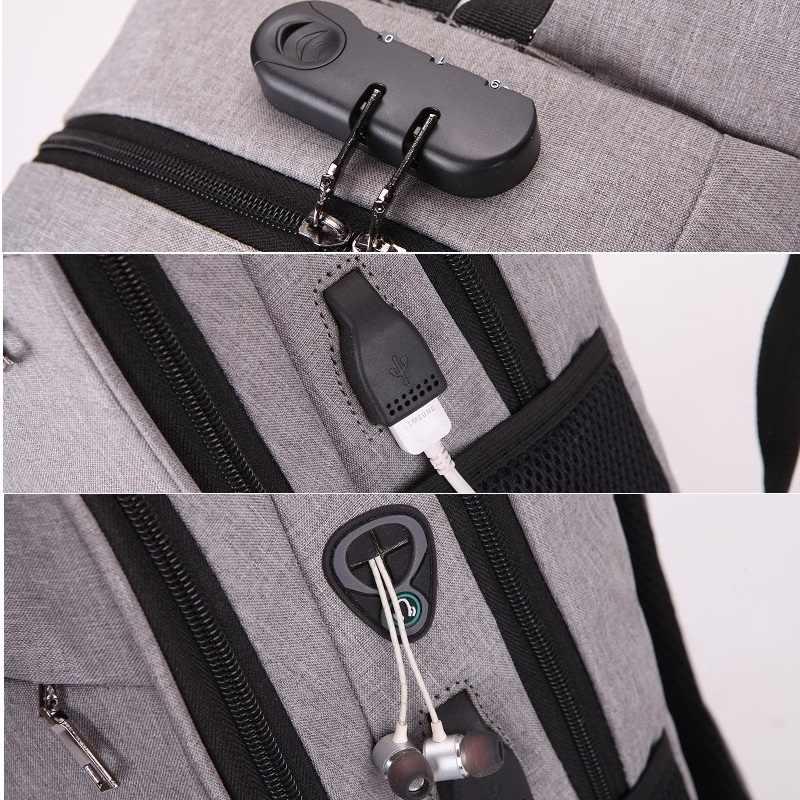 Anti-roubo bloqueio de senha senhoras mochila portátil usb bolsa de viagem de negócios mochila para homens