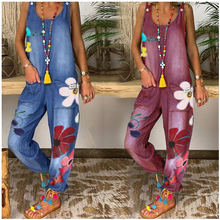 Denim Jumpsuit women's summer suspender jeans large women's loose and large sleeveless wide leg pants blue thin pocket Jumpsuit