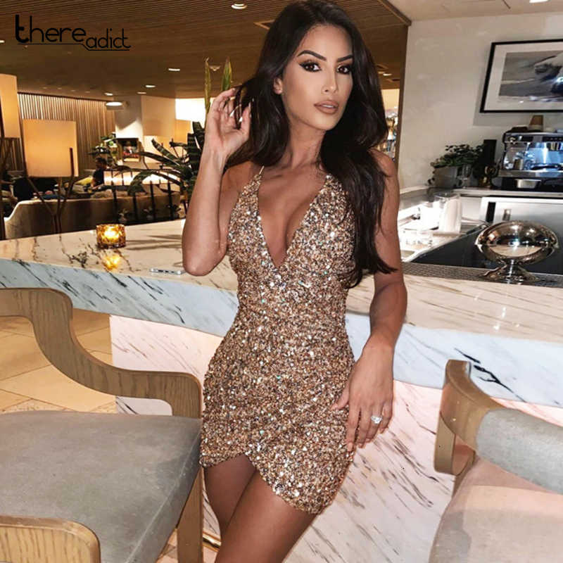 Thereadict Spaghetti Strap Glitter Pailletten Kleid Sexy Tiefem V-ausschnitt Backless Party Kleid Promi Mini Bodycon Kleid Frauen Vestido