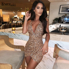 Thereadict Spaghetti Strap Glitter Sequin Dress Sexy Deep V Neck Backless Party Dress Celebrity Mini Bodycon Dress Women Vestido