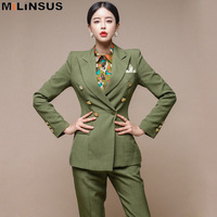 Vintage green womens tops and Pants Office Lady Pant Suits Korean Clothes Notched Blazer Jacke trousers sets Autumn Winter 2019