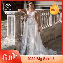חתונת שמלת 2 ב 1 בת ים להסרה רכבת אפליקציות מתוקה כלה שמלת נסיכת Swanskirt K149 Vestido דה novia