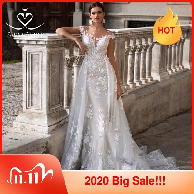 فستان زفاف 2 في 1 حورية البحر ذيل قابل للانفصال يزين الحبيب فستان زفاف الأميرة سوانتنورة K149 فيستدو دي نوفيا