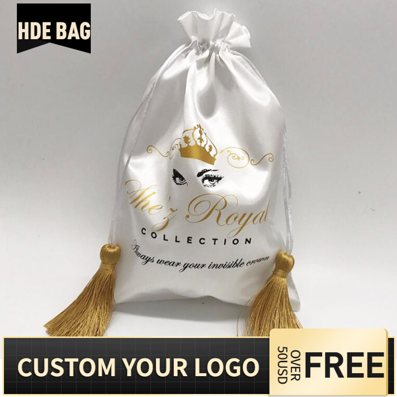 20PCS Luxury Hair Wigs Packaging Gift Bag Silk Ribbon Tassel Satin Bags Storage Pouch Print Logo Custom Bag 15x20 18x30 30x40cm