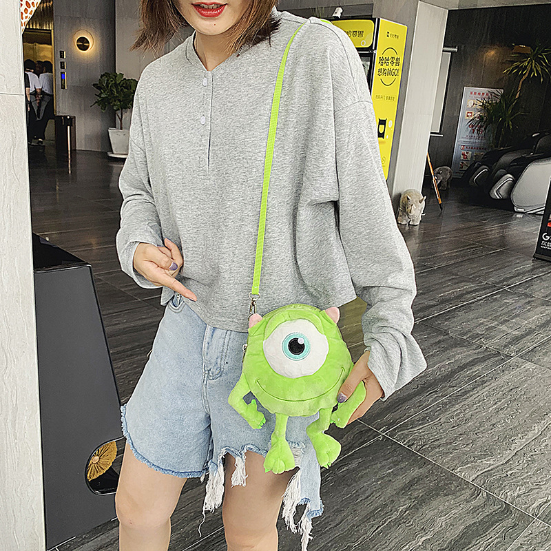 Korean Style INS GIRL'S Heart Plush Cartoon Shoulder Bag Soft Adorable Mike Wazowski Cute Japanese-style Ulzzang Monster Shoulde
