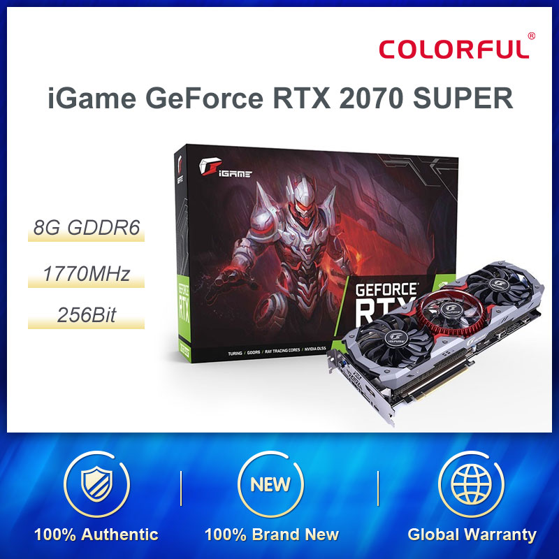 Colorful iGame GeForce RTX 2070 SUPER Graphic Card Advanced OC Nvidia GDDR6 256bit GPU 8G RTX2070 Video Card HDMI Game Computers image