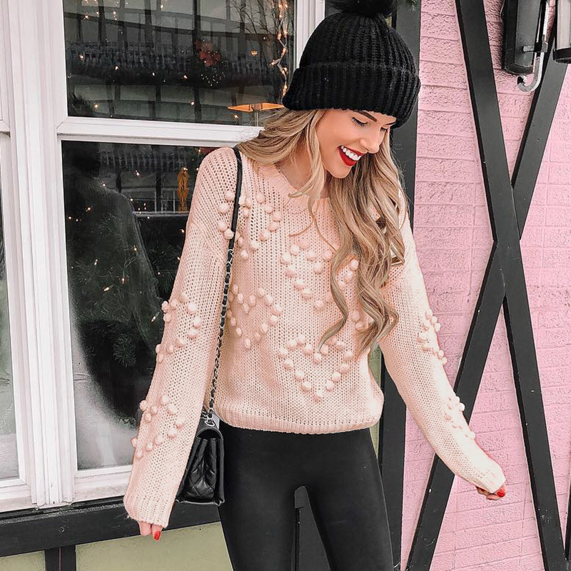 Mossha Pink Lantern Sleeve Casual Knitted Sweater Women 2019 Autumn Winter Jumper O-neck Loose Pompon Pullovers Female Sweater