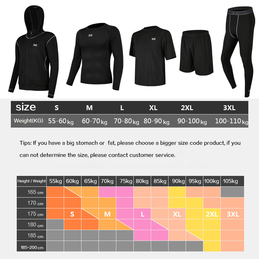 5 Pcs/Set Men's Tracksuit Gym Fitness Compression Sports Suit Clothes Running Jogging Sport Wear Exercise Workout Tights 5