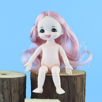 1/12 16cm ob11 Dolls Toys Mini Cute BJD Baby Smile Girl Doll Naked Nude 13 Movable Jointed Body Dolls Toy for Girls Gift freeshipping fairyland realpuki tyni doll bjd 1 13 pink smile elves toys gift