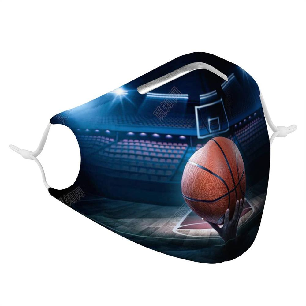 Patterns Customizable 4Pcs Filter Masks Carbon Insert Anti-dust Anti Infection Masks Reusable Face Mask Team sport basketball