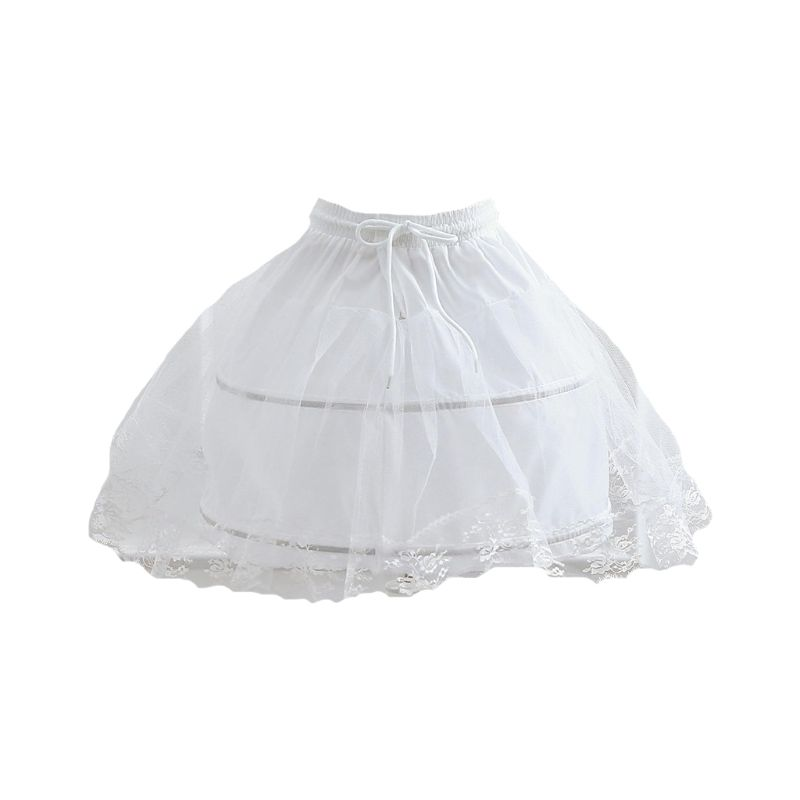 Elasticated Strap Adjustable Pettiskirt Cute Girls Cosplay Daily Lolita Skirt  Fishbone Petticoats