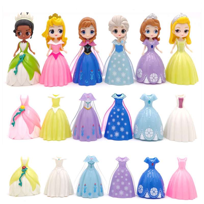 Hot Disney Frozen  Anna And Elsa Frozen Dolls Mermaid Princess Snow White Sophia Series Changing Clothes Toys For Children Gifts