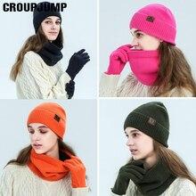 Теплый комплект из 3 предметов, зимние шапки, шарф, перчатки для женщин, толстый хлопок, зимние аксессуары, набор, женский мужской шапочки, шарф, перчатки