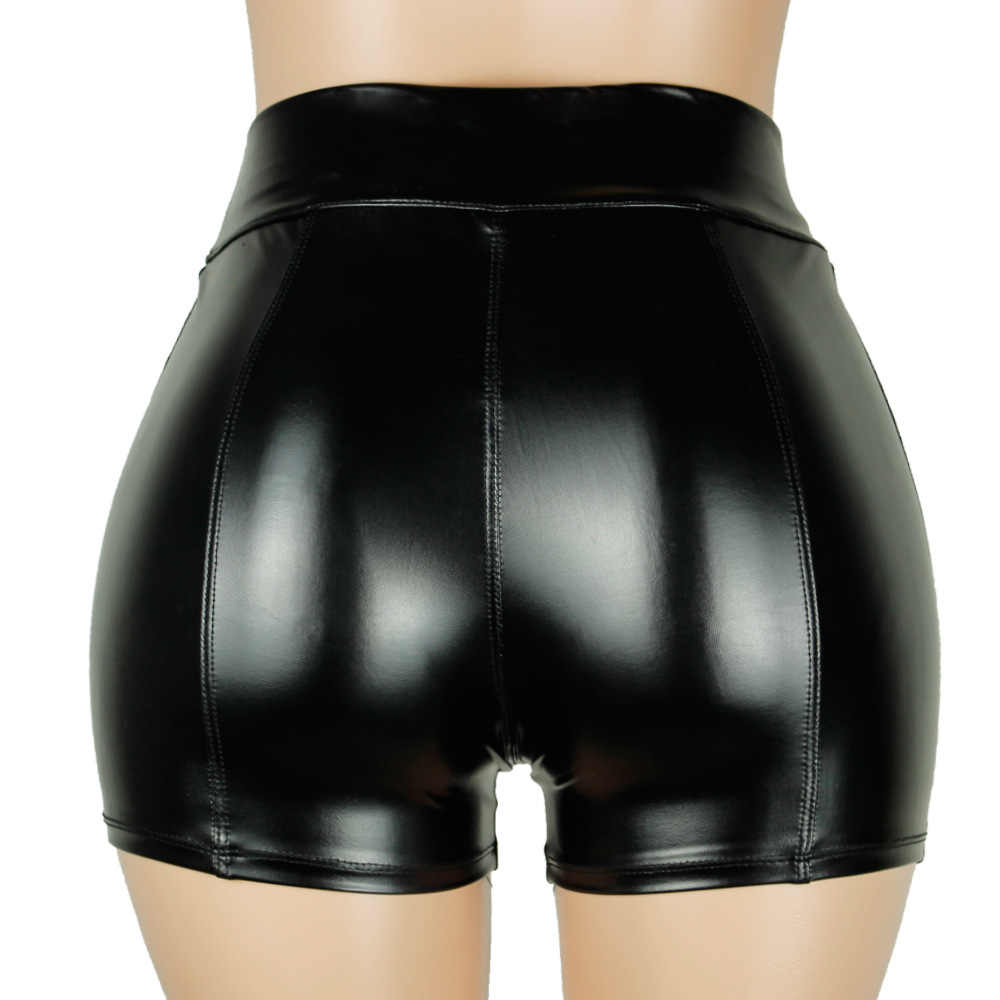 High Quality New 2019 PU Leather Shorts Women Sexy Women Short Pants Slim Casual Elastic Waist Shorts Plus Size Hot Pants S-3XL