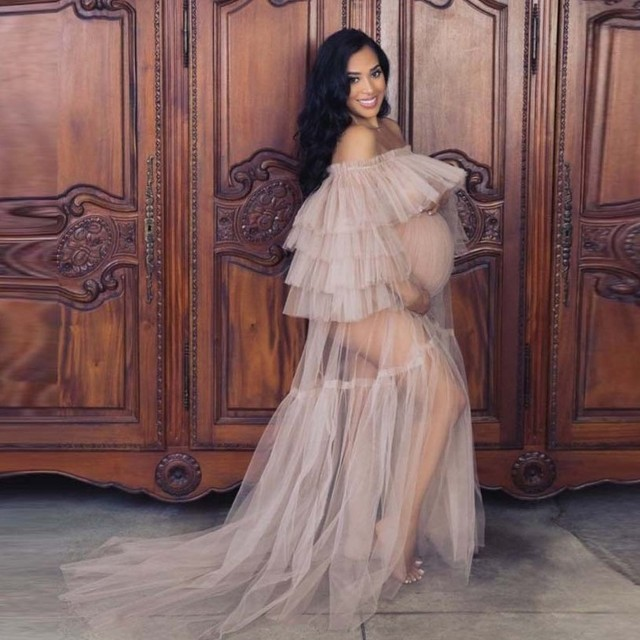 Hot Sale See Through Women Dress Off Shoulder Long Tulle Ruffles Pregnant Photo Shoot Dresses Plus Size Sheer Party Gown 1