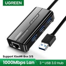 ТВ приставка Ugreen, USB Ethernet USB 3,0 2,0 к RJ45 хаб для Xiaomi Mi Box 3/S телеприставка, Ethernet адаптер, сетевая карта USB Lan