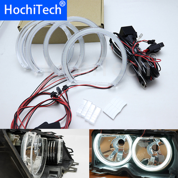 HochiTech Ultra bright White Crystal DTM Style LED Angel Eyes kits Halo Rings Light 131mm*4 for BMW 7 Series E38 1994-2001
