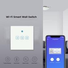 Выключатель eWeLink EU, Wifi RF433Mhz, стеклянный экран, сенсорная панель, голосовое управление, беспроводной, умный настенный светильник, выключатель, работает с Google home