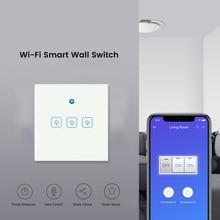 eWeLink EU Wifi Switch RF433Mhz Glass Screen Touch Panel Voice Control Wireless Smart Wall Light Switch work with Google home
