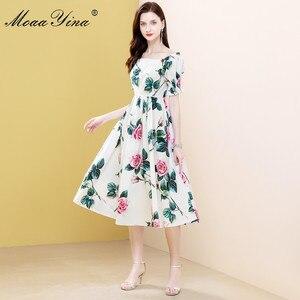 Image 3 - MoaaYina robe styliste, manches bouffantes, imprimé Floral, roses, en coton, pour vacances, printemps été