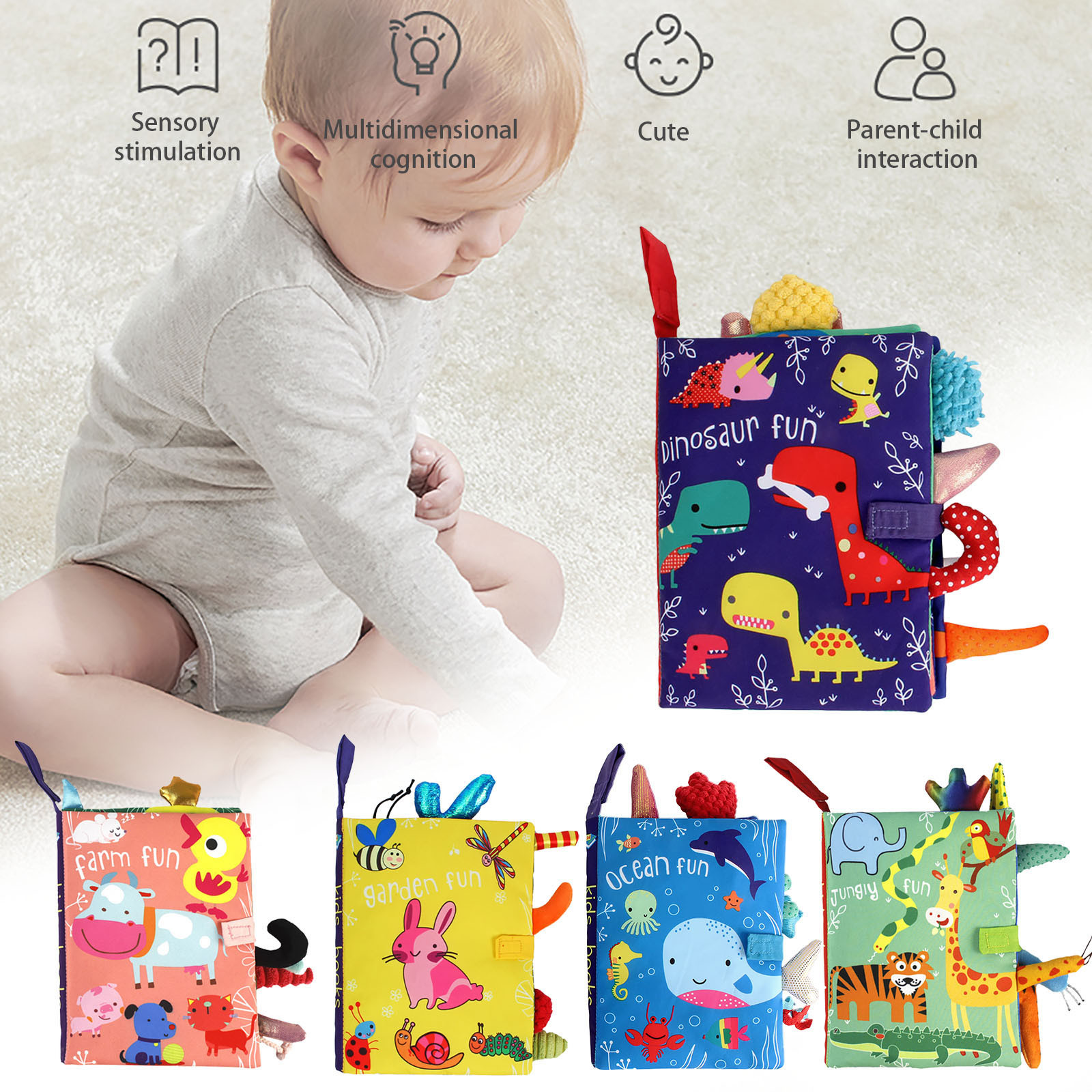 toys for boys children 3D Animal Tails Cloth Book Baby Puzzle Educational Learning Toy funny gifts подарки на новый год#K4
