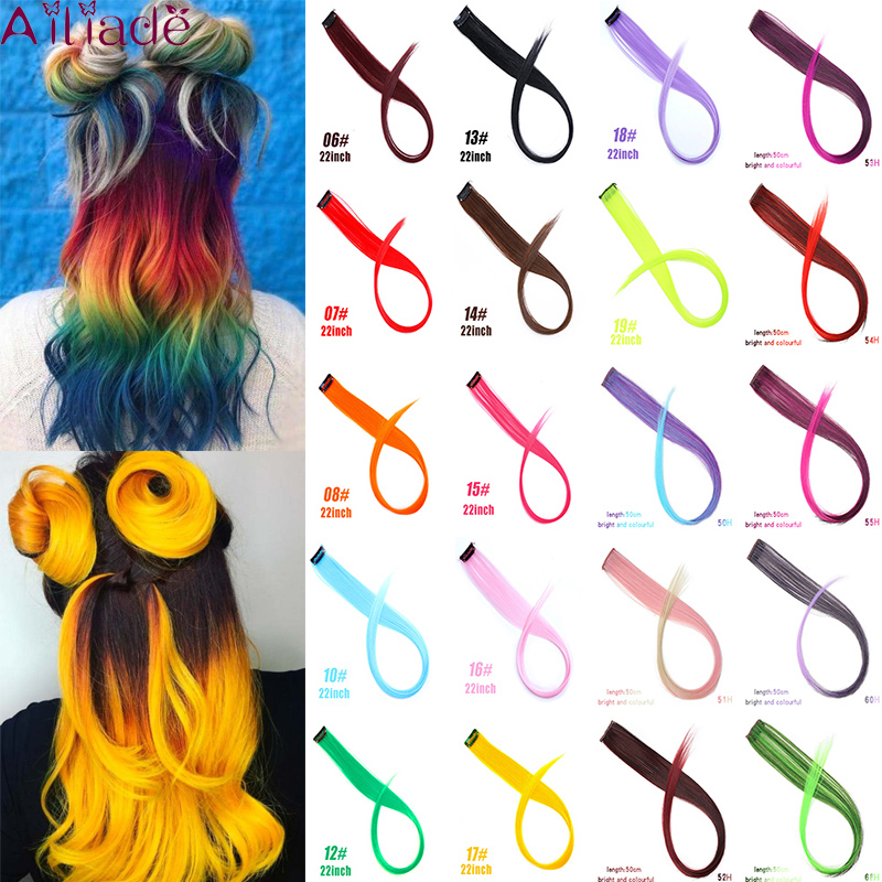 AILIADE 22inch Multiple Colour Heat Resistant Synthetic Hair Extensions Clips In One Piece Ombre Straight Fake Hair Rainbow
