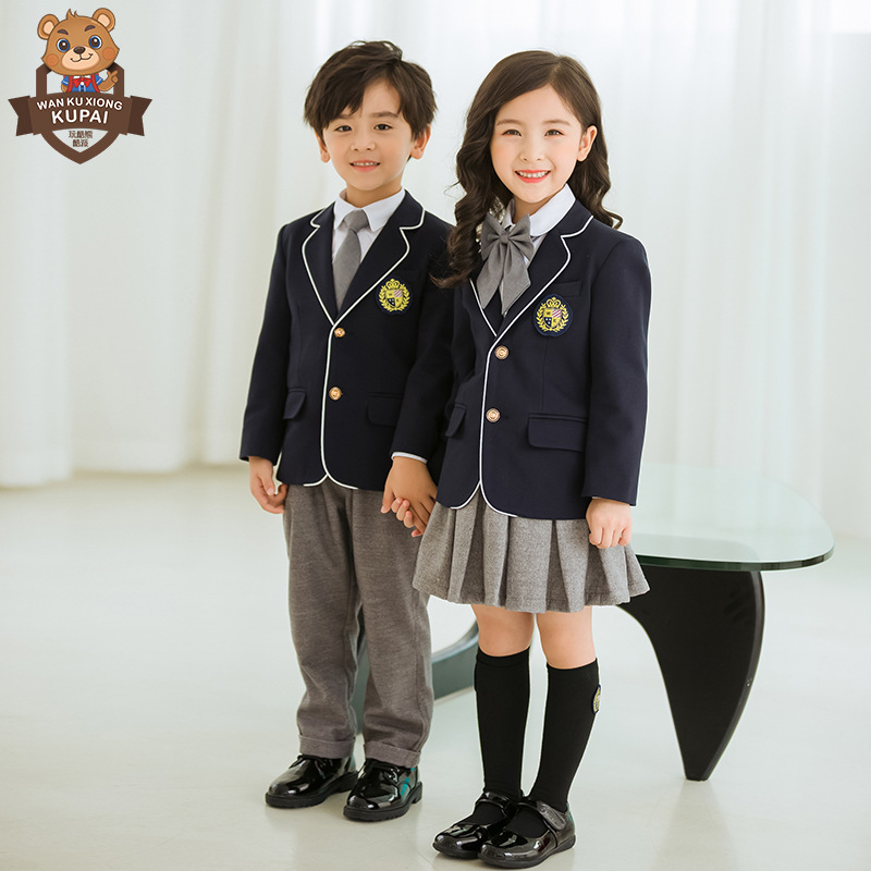 Play Cool Bear British Style Young STUDENT'S School Uniform Suit Three-piece Set Kindergarten Suit Spring And Autumn Children Bu
