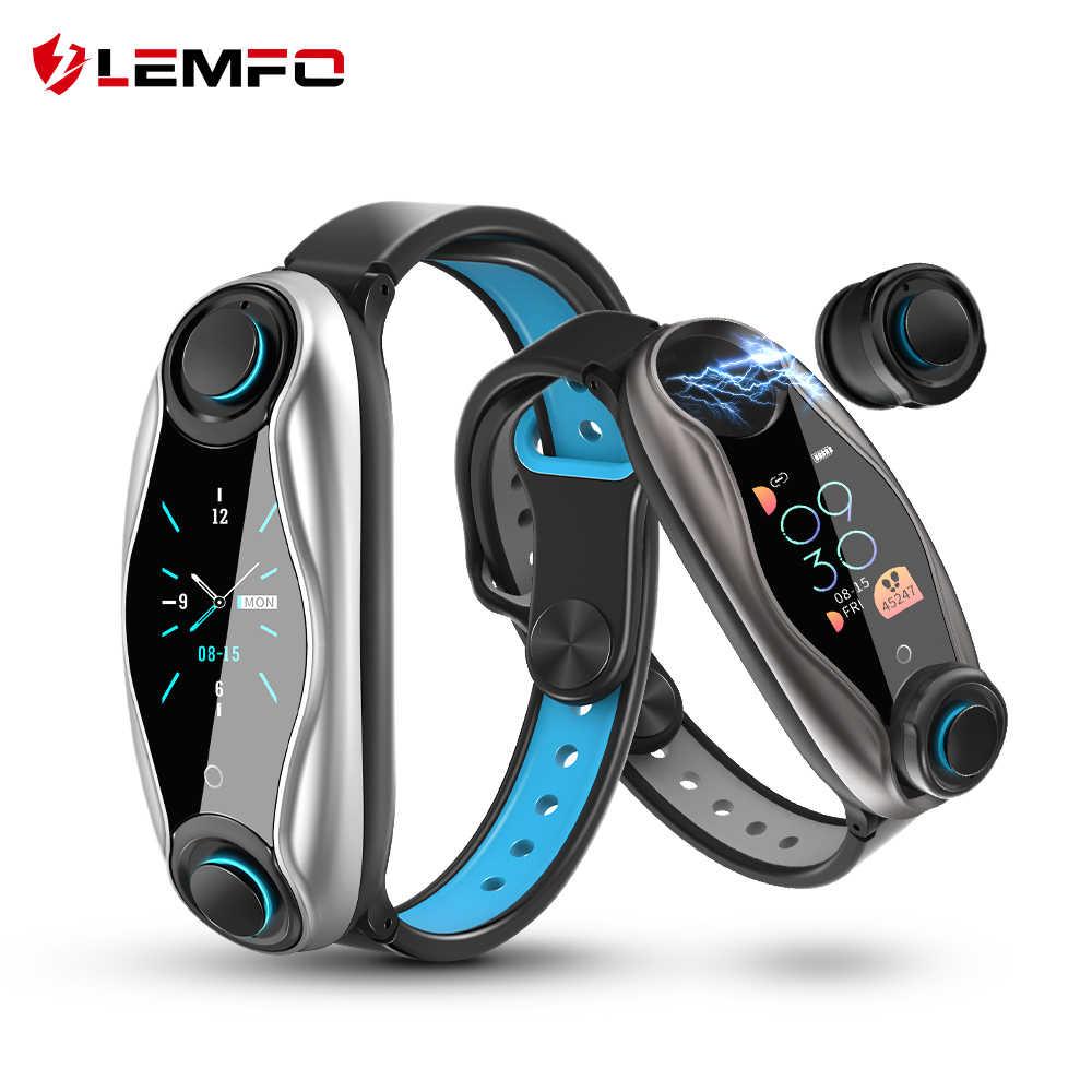 Lemfo lt04 pulseira de fitness sem fio bluetooth fone ouvido 2 em 1 bluetooth 5.0 chip ip67 à prova dip67 água esporte relógio inteligente