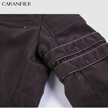 CARANFIER Fashion Winter Leather Jacket Men Stand   6