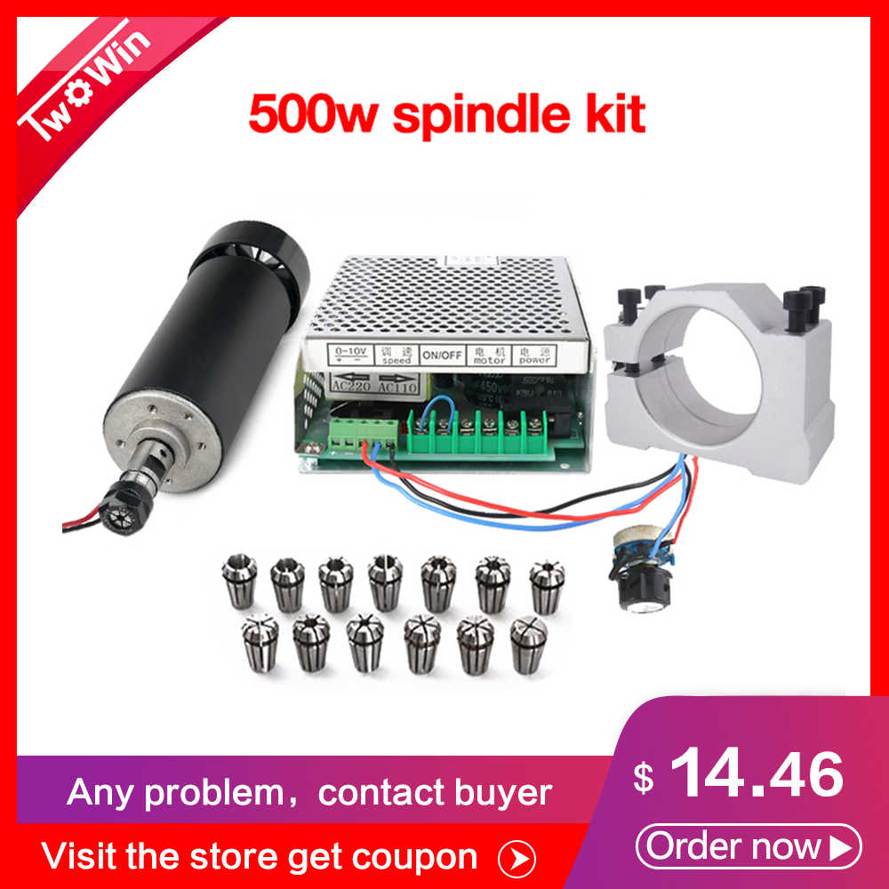 500W Air Cooled Spindle Kit ER11 CNC Spindle Motor Adjustable Power Supply 52MM Clamps ER11 Collet Chuck For Engraving