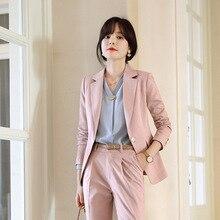High quality slim womens suits skirt set Autumn new one button blazer Casual pants suit Temperament office sets 2019