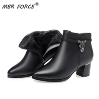 MBR FORCE Women boots women genuine leather boots Genuine Leather high heeled ankle boots thick wool winter snow boots black