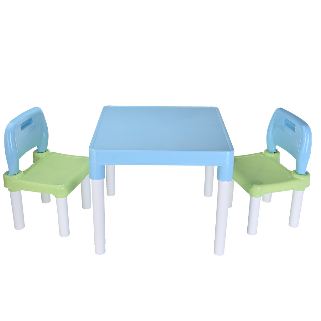 Free Shipping Healthy Safety Plastic Kids Table And 2 Chairs Set Parent-child Game Desk Baby Kids Furniture#US6