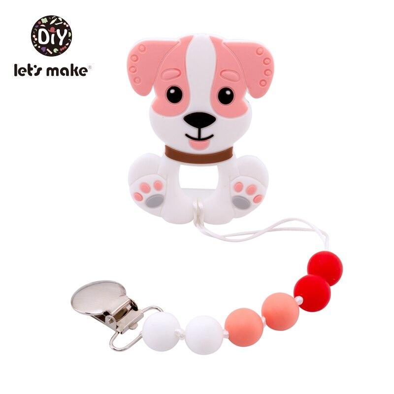 Купить с кэшбэком Tiny Rod BPA Free Food Grade Silicone Teethers Cartoon Animals Shape Pacifier Clips DIY Accessories Baby Teething 1pc Let's Make