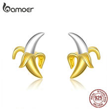 bamoer Fruit Banana Stud Earrings for Women Funny Design 925 Sterling Silver Korean Gold Color Fashion Jewelry Ear Pins SCE731(China)