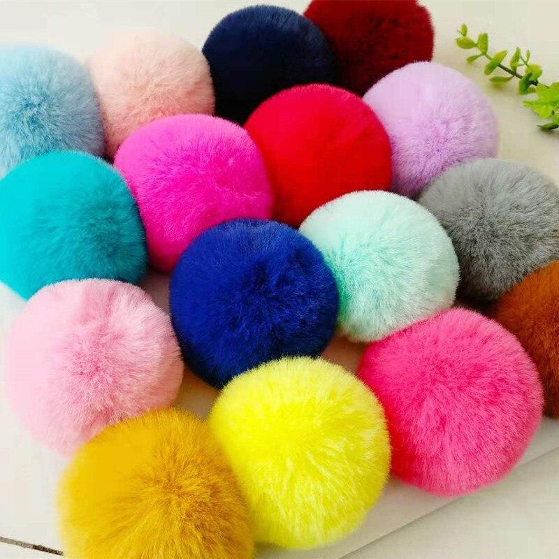 2pcs Real Fur Ball 6cm Pompom Keychain Car Pompon Rabbit Fur Ball Keychain Fur DIY Bag Charms with Fluffy Bunny Ponpon